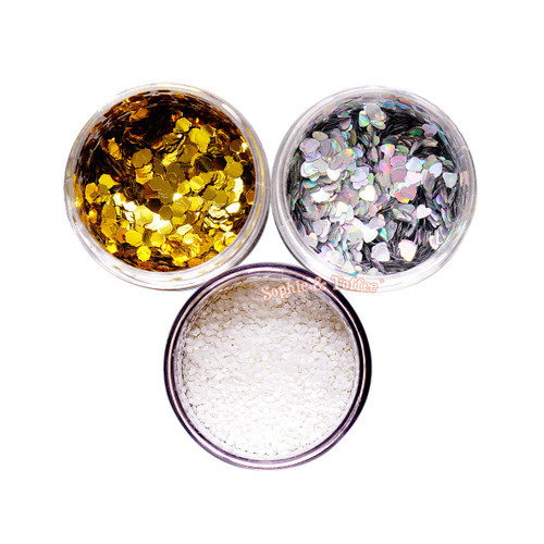 Glitter Heart & Hexagon Assortment Pack (3 Pieces)