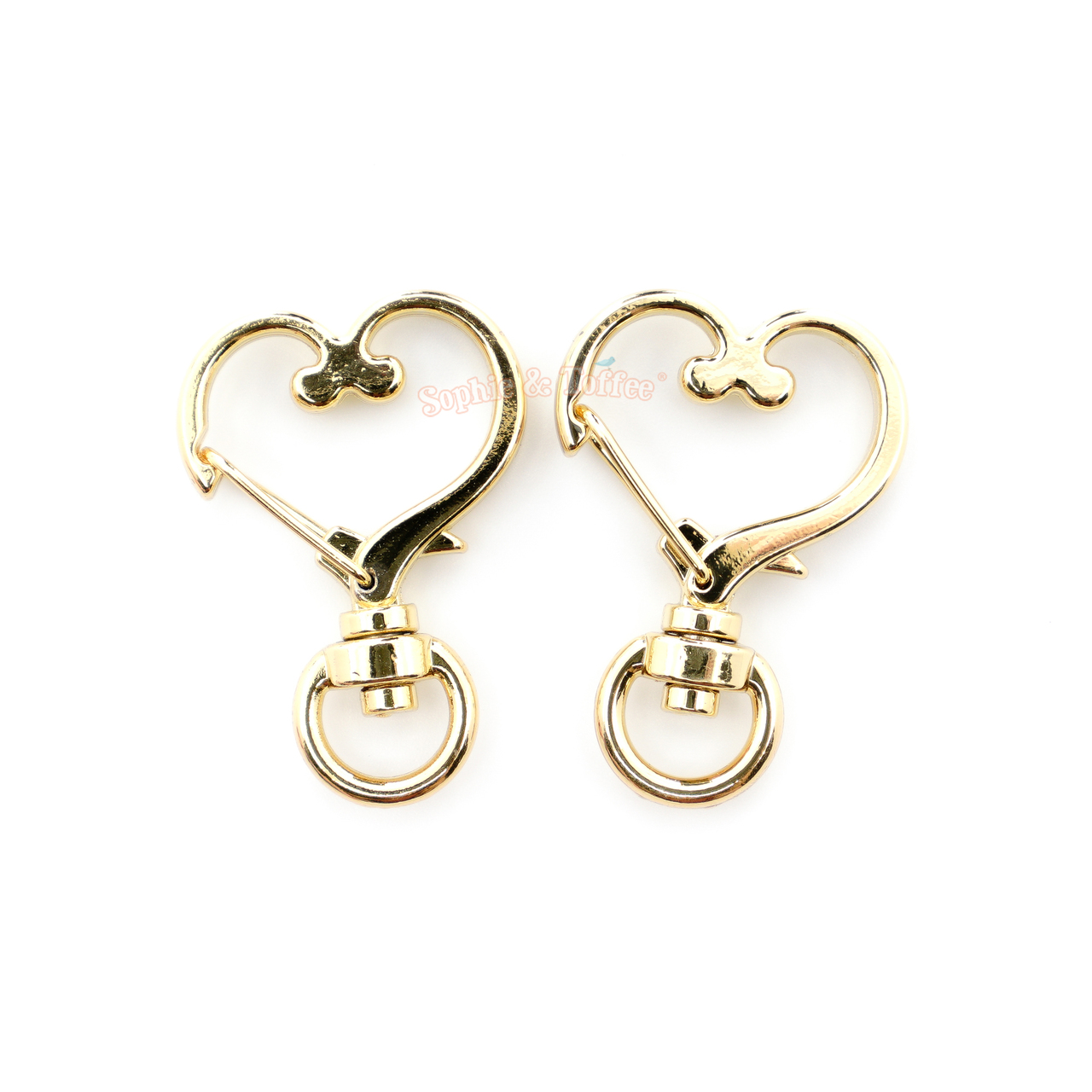 Heart Snap Clip with Swivel Ring (3 pieces)
