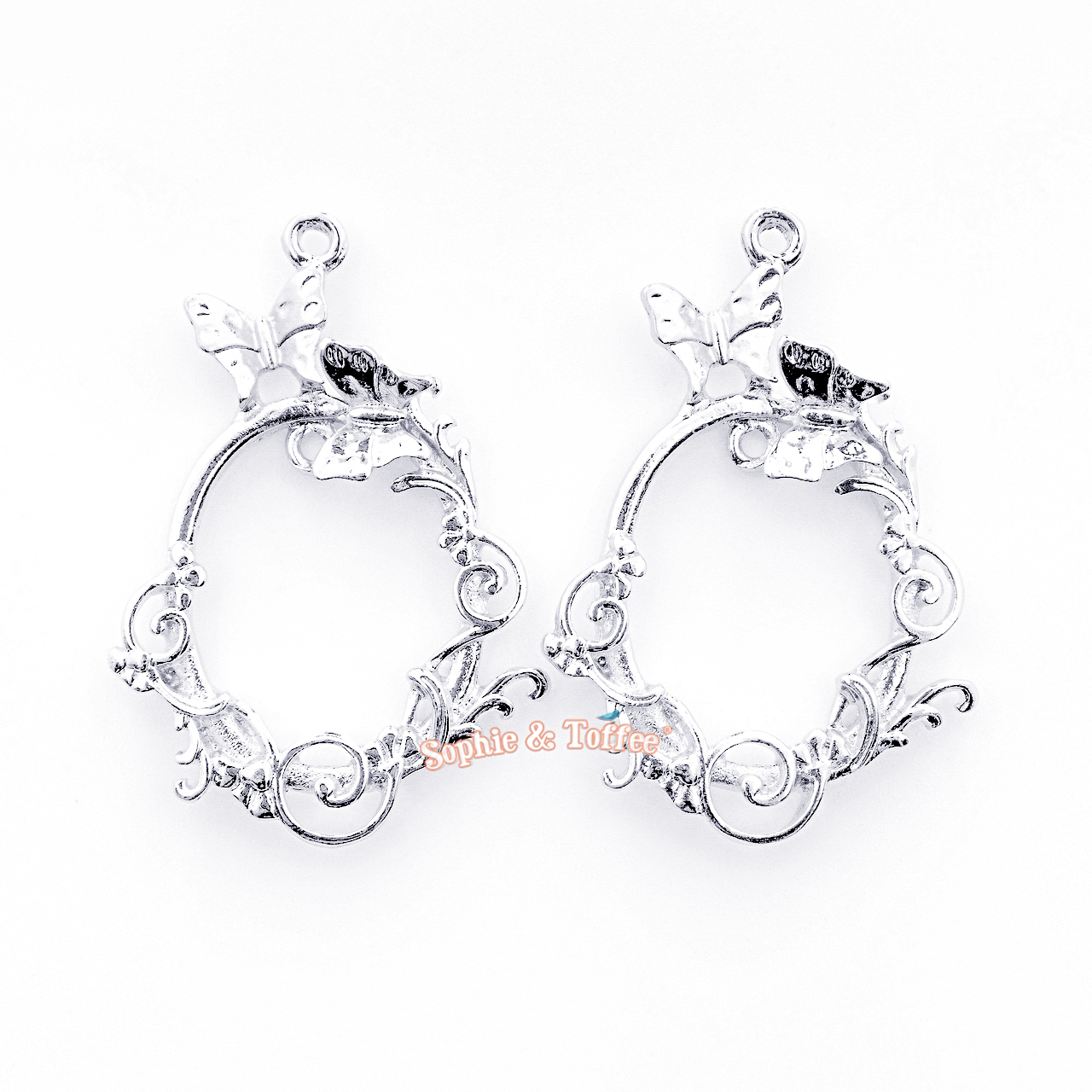0318851553953 Silver Butterfly Oval Frame Open Bezel Charms (4 pieces)