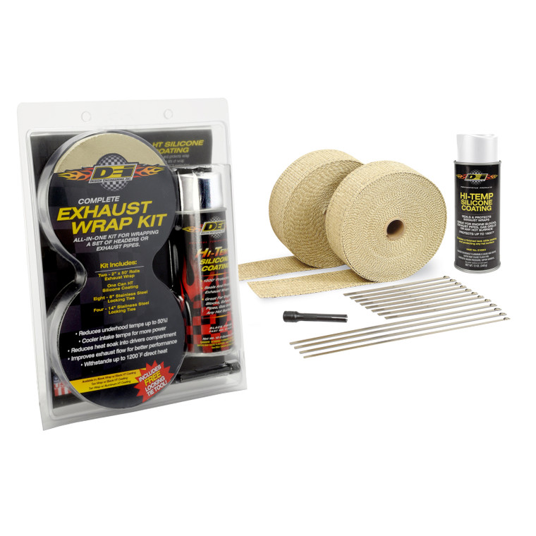 Tan Glass Fiber Exhaust & Pipe Wrap Kit with White HT