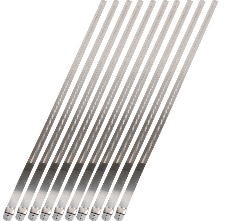 """Stainless-Steel Positive Locking Ties - 12mm x 20"""" (10-Pack)"""