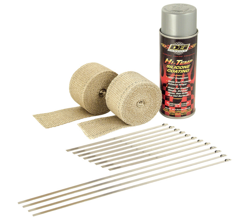 Motorcycle Exhaust Pipe Wrap Kit - Tan & Aluminum HT
