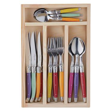 Jean Dubost Laguoile 24 Piece Multi Color Cutlery Set