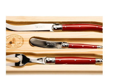 Jean Dubost 3pc Cheese Set with Red Handles