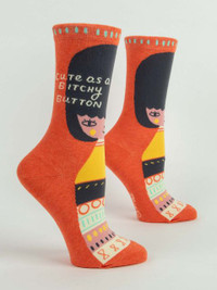 Bitchy Button Crew Socks