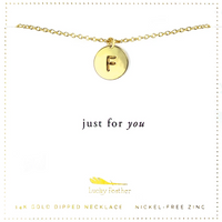 Letter Disc Necklace - Gold F
