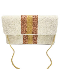 Cream with Gold Stripes Clutch