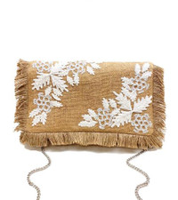 White Bead Embroidered Jute Clutch