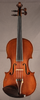 Antique French fractional sized violin, front.