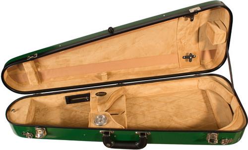 Bobelock Arrow Fiberglass Adjustable Viola Case - Velour - Green/Tan