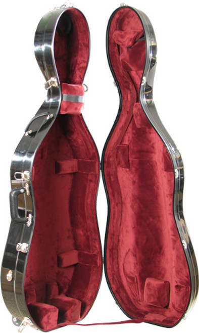Bobelock Cello Case with Wheels - Black/Wine