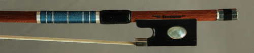 Silver-Mounted, Brazilian Pernambuco Violin Bow with Blue Silk.