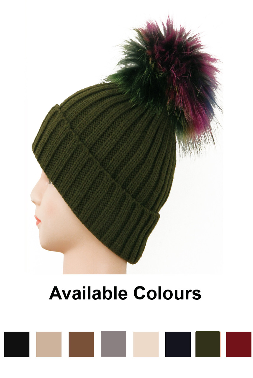 Real Fur Pom Pom Knit Winter Hat - 8 Colours - Buy Fashion Wholesale in The  UK 439db902f92