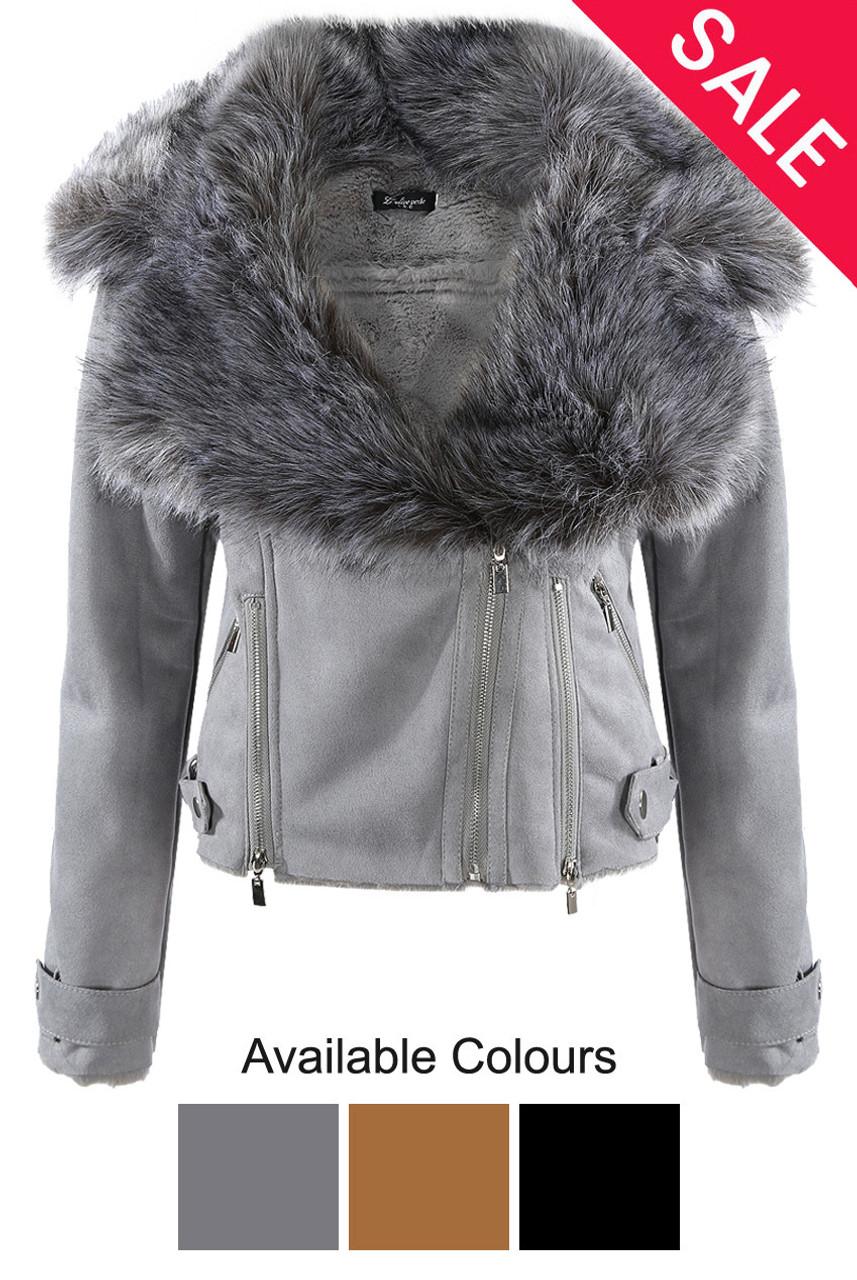cf9a9ecc5 Faux Leather Thick Faux Fur Jacket - 3 Colours