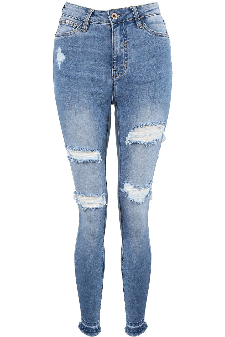 hot sale online fast delivery purchase authentic Denim Blue High Waist Ripped Jeans