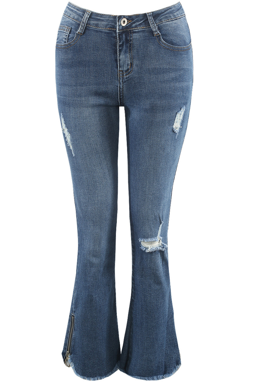 cheap price nice cheap enjoy bottom price Denim Blue Ripped Flare Jeans