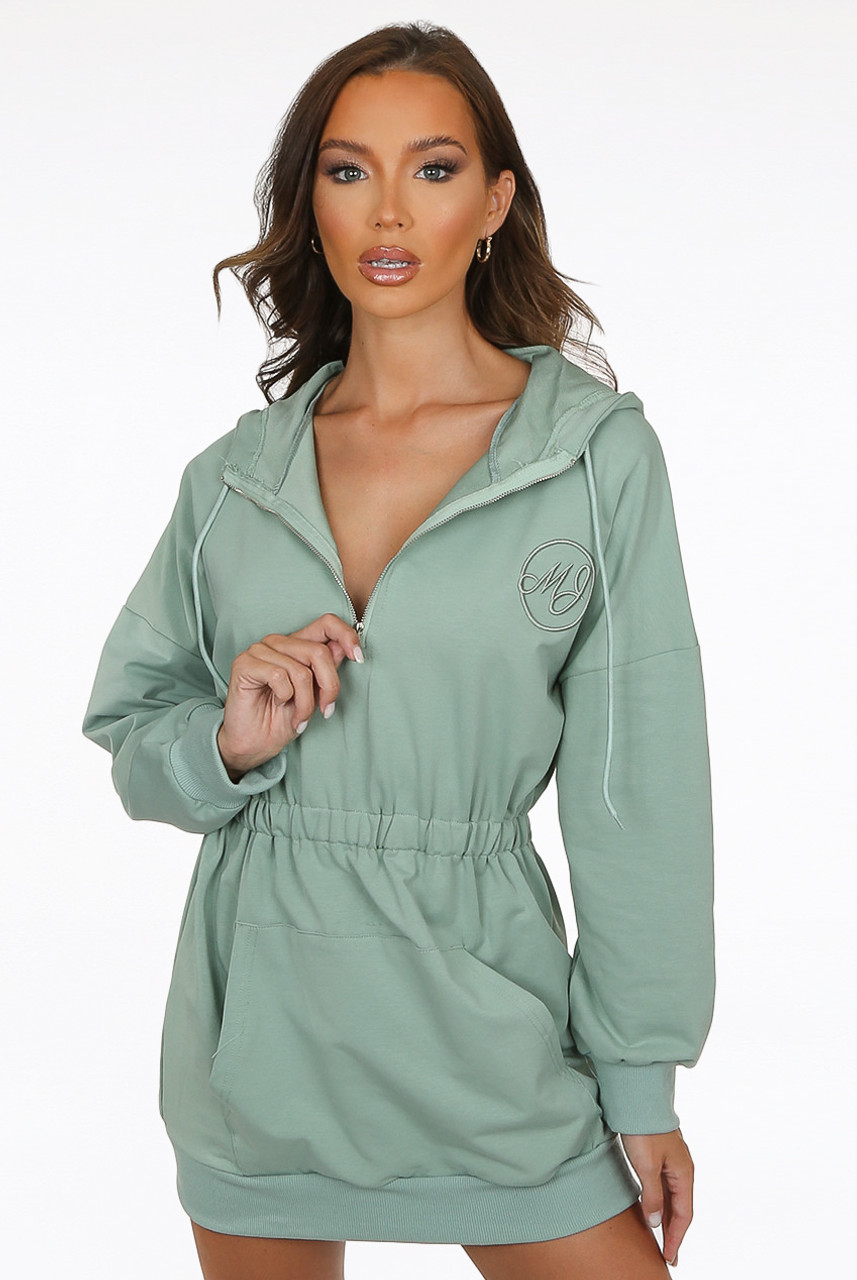bodycorn party hoodie dress with zip front