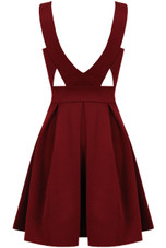 Wine Plunge Cut Out Detail Skater Dress