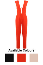 Front Low Neck Back Zip Up Jumpsuit - 3 Colours