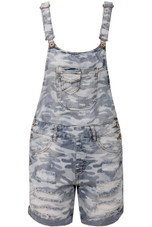 Blue Camouflage Denim Ripped Dungaree