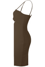 Front Cut Out Zip Up Bodycon Dress - 3 Colours