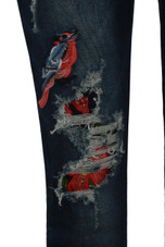 Blue Denim Floral Ripped Skinny Jeans