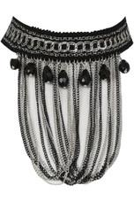 Black & Silver Stone Diamante Lace Choker