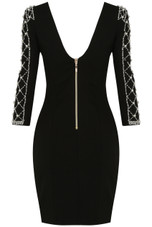 Black Pearls Embellished Bodycon Dress