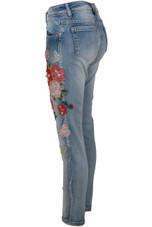 Washed Denim Gem & Floral Embellished Jeans