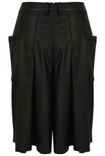 Black PVC Pleated Long Shorts