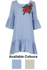 Contrast Flower Embroidered Shift Dress - 2 Colours