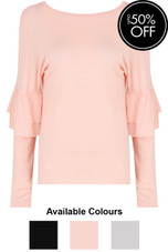 Ribbed Layered Frill Sleeve Tops - 3 Colours