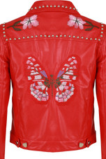 PU Embroidered & Studs Detail Jacket - 2 Colours