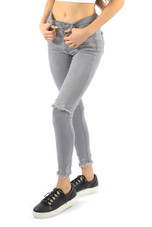 Grey Frayed Knees & Ankles Jeans