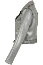 Silver Metallic Bonded Biker Jacket