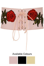 Flower Embroidered Lace Up Corset Belt
