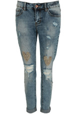 Hearts Studded Ripped Jeans