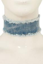 Denim Frayed Choker Necklace