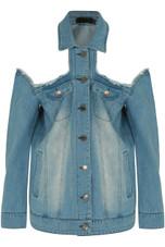Mid Blue Cold Shoulder Denim Jacket