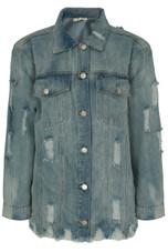 Shredded Oversized Denim Jacket