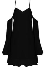 Cold Shoulder Cami Dress With Frilled Chiffon Hem - 3 Colours