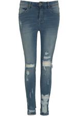 Denim Shredded & Ripped Skinny Jeans
