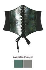 Foil Trim Lace Up Corset - 2 Colours