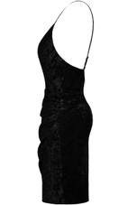 Velvet Front Low Cut Wrap Dress - 2 Colours