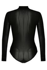Black Netted High Neck Bodysuit