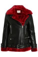 Black Faux Leather Fur Lined Coat