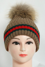 Real Fur Pom Slouchy Knit Beanie - 7 Colours