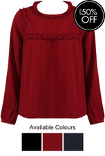 Ruffle High Neck Blouse - 3 Colours