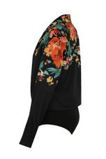 Black Printed Crossover Bodysuit