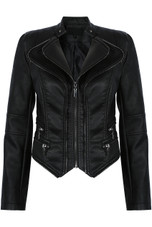 Black Double Zip PU Jacket with Removable Hem